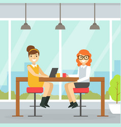 coworking space with two smiling businesswoman vector image