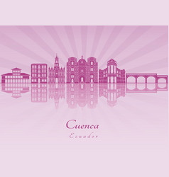 Cuenca ec skyline in purple radiant orchid vector