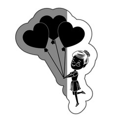 Cute girl with hearts balloons vector