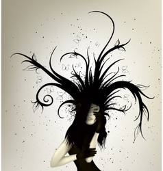 Dark girl with abstract lines vector