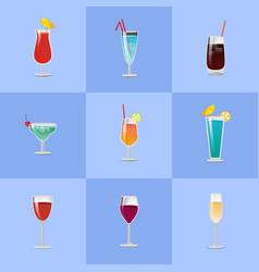 different cocktail types vector image