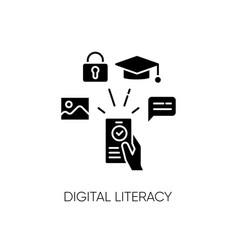 Digital literacy black glyph icon vector