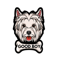 Dog west highland white terrier bone good boy vector