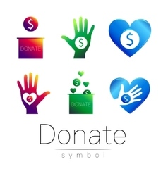 Donation sign icon Set Donate money box hand vector