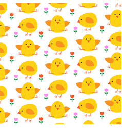 easter chick pattern on white vector image