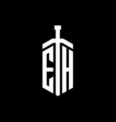 eh logo monogram with sword element ribbon design vector image