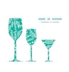 Emerald green plants three wine glasses vector