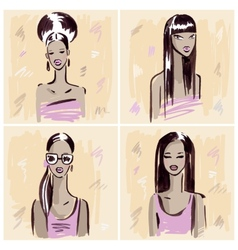 Fashion girl Hand drawn Portrait vector image