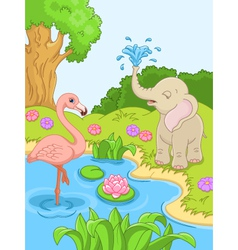 Flamingos and elephant in nature vector image