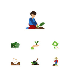 Flat icon sow set of florist packet man and vector