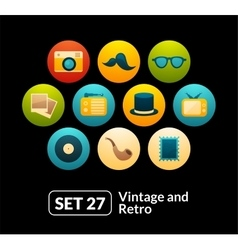 Flat icons set 27 - vintage collection vector image