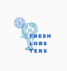 Fresh lobsters abstract sign symbol or vector