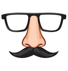 Glasses and nose with mustache fake mask vector