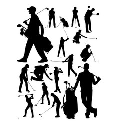 golfer detail silhouette vector image