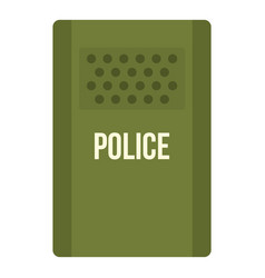 Green police riot shield icon isolated vector