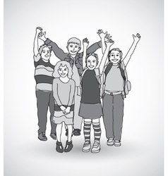 Group of happy children shadow gray scale vector