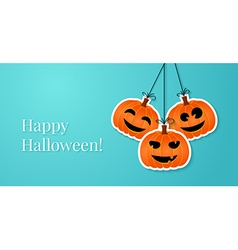 Halloween background with smiling pumpkins vector