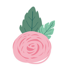 hand drawing pink color of bud rose flower with vector image