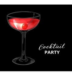 Hand drawn cocktail with cherry against dark vector image