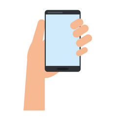 Hand holds smartphone device technology vector