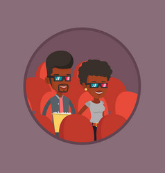 happy couple watching 3d movie in the theatre vector image