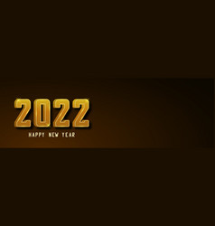 happy new year 2022 banner golden text vector image