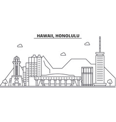 hawaii honolulu architecture line skyline vector image