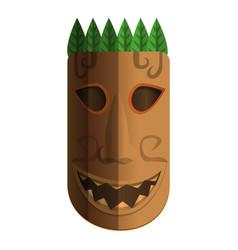 Hawaii wood idol icon cartoon style vector