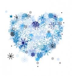 Heart shape snowflakes vector