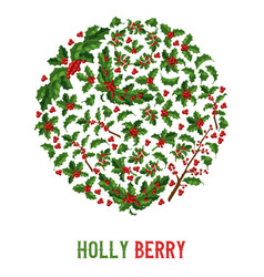 holly berries pattern christmas decoration vector image