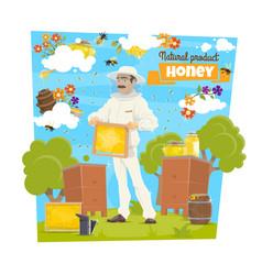 Honey bee and beekeeper on beekeeping apiary vector