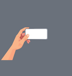 human hand holding smartphone with blank touch vector image