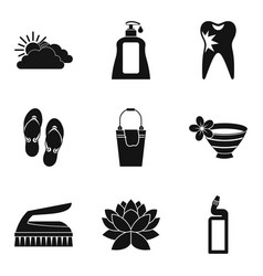 Hygienic procedure icons set simple style vector