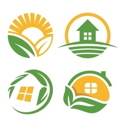 Isolated countryside house logo set vector