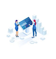isometric digital monitor with infographics vector image