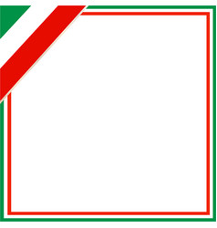 italian flag square corner frame vector image