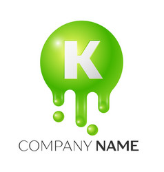 k letter splash green dots and bubbles letter vector image