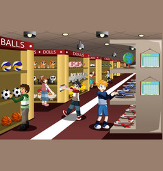 kids at toy store vector image