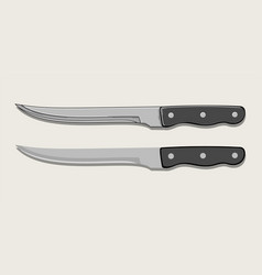 kitchen knife in two versions isolated on beige vector image