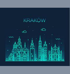 Krakow skyline poland trendy linear city vector