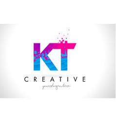 Kt k t letter logo with shattered broken blue vector
