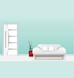 living room interior with a sofa and white pillows vector image