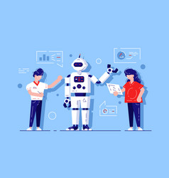 man and woman developing chat bot vector image