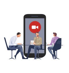 Meeting online video call company meeting with vector