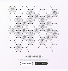 Mind process concept in honeycombs vector