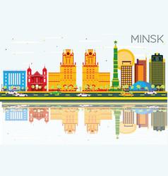 Minsk skyline with color buildings blue sky vector