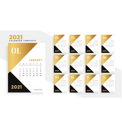 Modern gold and black 2021 new year calendar vector
