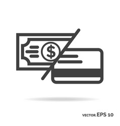 Money or card outline icon black color vector