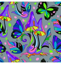 Mushroom and butterfly seamless pattern vector image