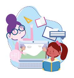 Online education teacher and student girl vector